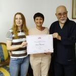 Catia con il rev. Inamoto e Chiara Grandi, fondatrice della Komyo Reiki Kai Italia